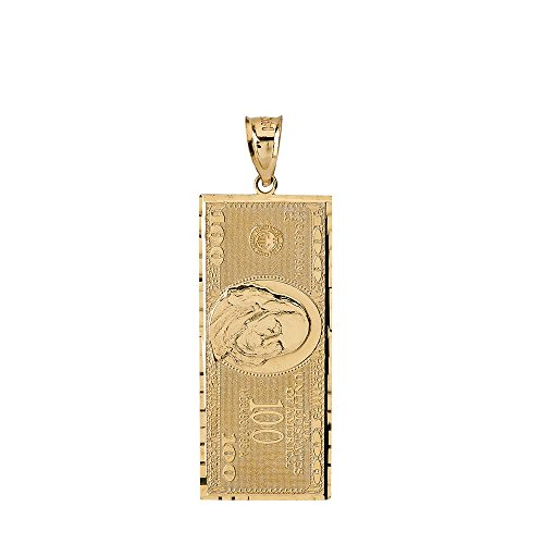 Solid 10k Yellow Gold Benjamin's One Hundred Dollar Bill Charm Pendant (Small) (10 Dollar Necklaces)