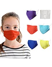 5 Pack Kids Face Mask Washable with Filter - 4-10 yrs old Boys and Girls Kids Mask Reusable with Adjustable Straps