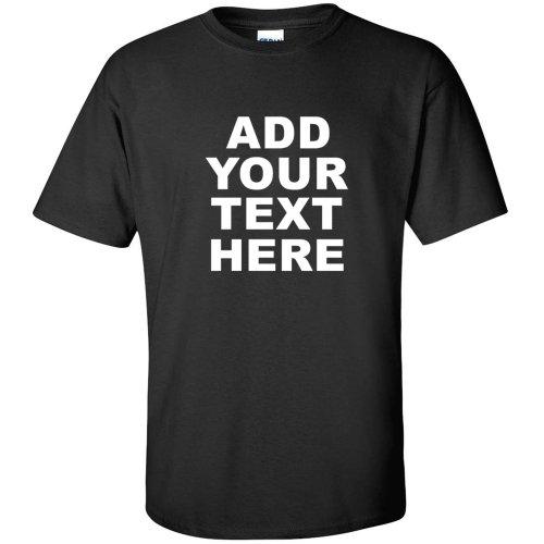 ADD YOUR OWN CUSTOM WHITE TEXT TEE company logo MENS T-SHIRT Black L - Custom Screen Printed T Shirts