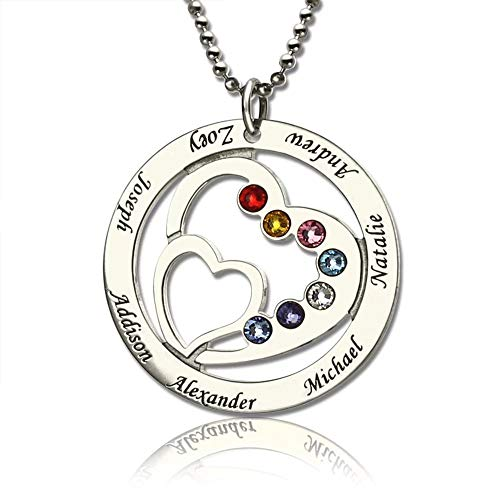 Family Name Heart Necklace Personalized Engraved with 7 Names and Birthstone-925 Sterling Silver Gold Rose Gold Double Heart Necklace for Mother Grandmother Wife Women
