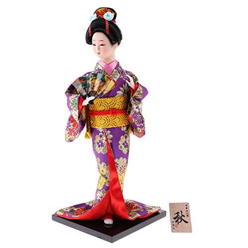 Baoblaze Finest Japanese Traditional Kabuki Doll Brocade Kimono Geisha Geigi Figurine Souvenir Crafts #5