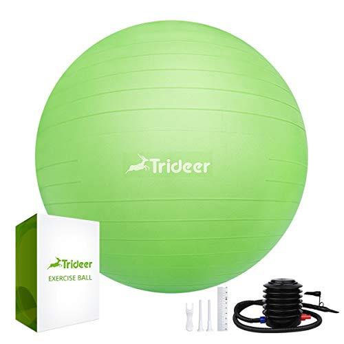 Trideer 45-85cm Exercise Ball, Birthing Ball, Yoga Pilate Fitness Balance Ball lug Kit, Anti-Slip & Anti-Burst, 2000lbs Extra Thick Core Cross Training Ball (Green, 65cm) For Sale