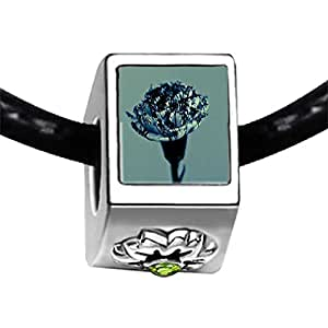 Chicforest Silver Plated Carnation For Mom Photo Peridot Crystal August Birthstone Flower Charm Beads Fits Pandora Bracelets