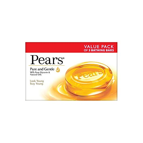 Pears Moisturising Bathing Bar Soap with Glycerine Pure & Gentle For Golden Glow (125g x 3)