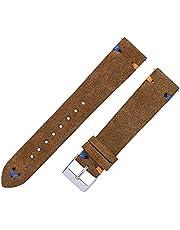Suède horloge riemen 18mm 20mm hand gestikt beige groene blauwe suède lederen horlogebandjes for man vrouw sneldier horloge armband (Color : Light brown, Size : 18mm)