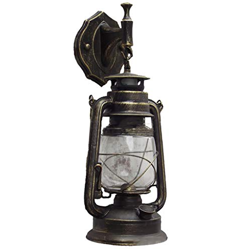 Maikouhai E27 Retro Antique Vintage Rustic Lantern Lamp Wall Sconce Light Fixture Outdoor for Garden, Yard, Lawn, Pool, Pathway, 32x15x15cm (Green)