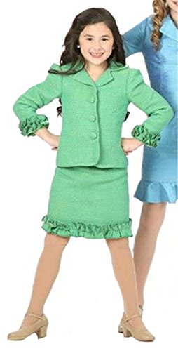[SISTARS Girls' Satin Interview Pageant Suit Knee Length Skirt Ruffles Jacket 12 Green] (Pageant Suits)