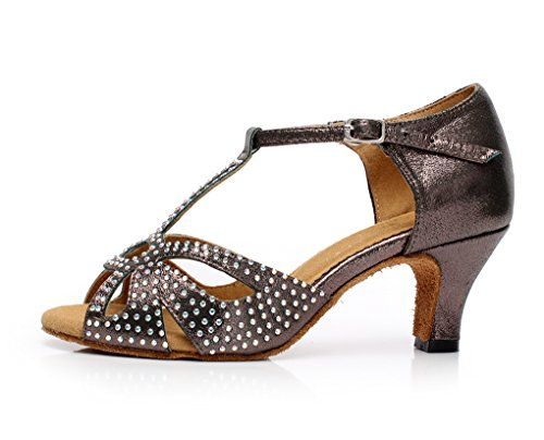 Dance Satin Ballroom Women's Gray Minitoo Latin Crystals Shoes QJ6182 x41FqTY