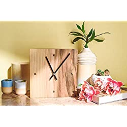 Square Wood Wall Clock - Small Size 8 Inch - Modern Silent Non Ticking Wood Clock - Kitchen - Living Room - Bedroom Decor