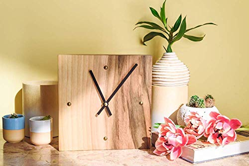 Square Wood Wall Clock - Small Size 8 Inch - Modern Silent Non Ticking Wood Clock - Kitchen - Living Room - Bedroom ()