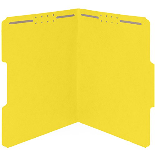 50 Yellow Fastener File Folders- 1/3 Cut Reinforced tab- Durable 2 Prongs Designed to Organize Standard Medical Files, Law Client Files, Office Reports Letter Size, Yellow, 50 Pack