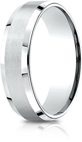 Benchmark 14k White Gold 6.5mm Comfort-Fit Satin-Finished w/ Beveled Edge Carved Design Band, (Size - Wedding Finished Band Carved