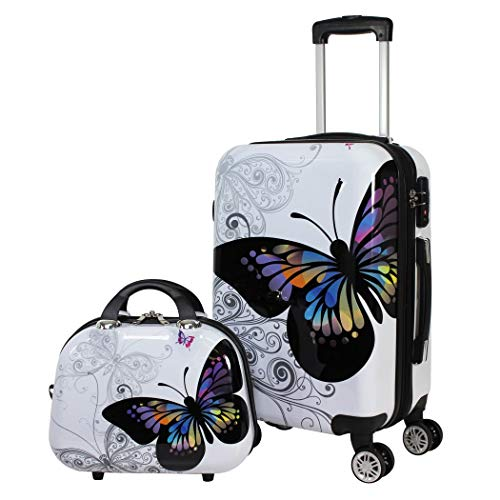 (2 Piece Beige Hardcover Briefcase, Carry-on Spinner Luggage Set, Signature, Animal Pattern, Checkpoint-Friendly, Locking, Multi-Compartment, Rolling, Spinner, Telescoping Handle, Black, White)