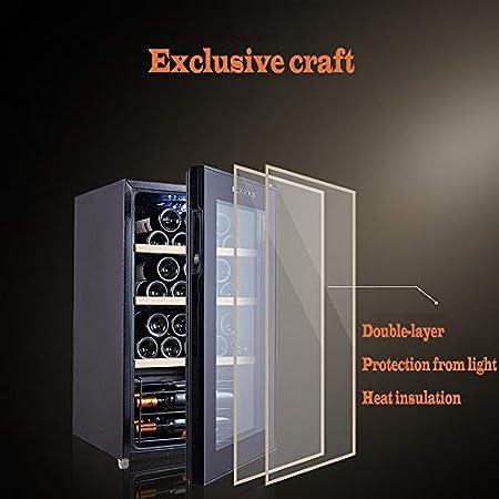 MSG ZY Refrigerador de Vino de 32 Botellas,Bodega de Vino con Pantalla táctil LED, refrigerador de Vino Independiente, gabinete para cigarros, hidratante a Temperatura Constante de 360 °