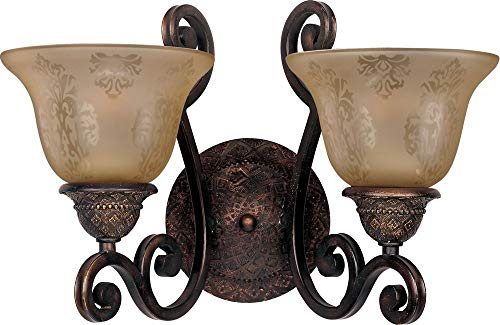 Maxim 11247SAOI Symphony 2-Light Wall Sconce, Oil Rubbed Bronze Finish, Screen Amber Glass, MB Incandescent Incandescent Bulb , 40W Max., Dry Safety Rating, Standard Dimmable, Linen/Silver Leaf Fa Shade Material, 2400 Rated Lumens
