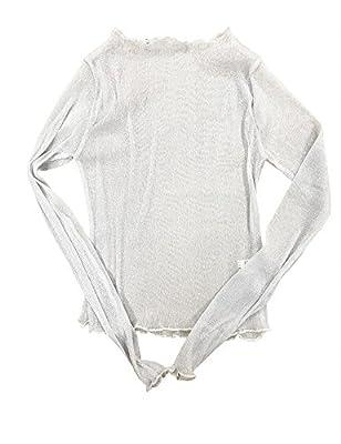 Haola Women's Sexy Summer See Through Sheer Mesh Long Sleeve Cute Tops Slim T-shirt