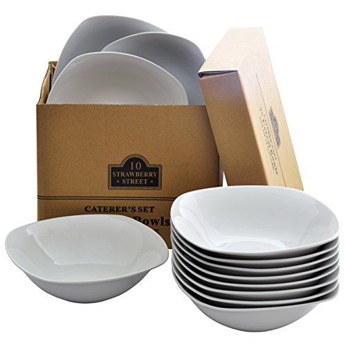 (10 Strawberry Street CATERING-12SQBOWL Catering Pack 10 Oz Square Cereal Bowls - Set of 12, White)