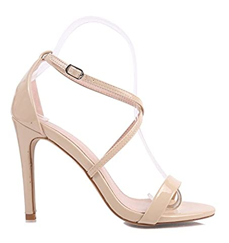 "Fashion Sexy Glitter Patent Strappy Sandals Women 4.25"" Fancy Stiletto High Heels Party Formal Dress Shoes (6.5, - Patent Strappy Stiletto Heel"