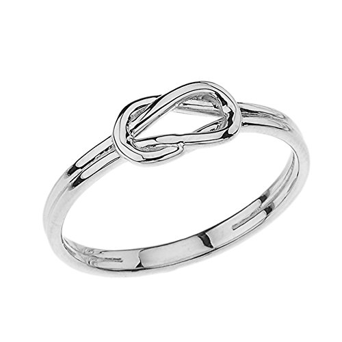 Modern 10k White Gold Hercules Love Knot Promise Ring (Size 6.75) (Knot Gold Claddagh Ring)