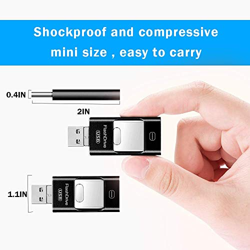 DDIDA Flash Drive for iPhone 256GB, 4 in 1 USB 3.0 Thumb Drive Photo Backup Memory Stick Compatible with iPhone,iPad, Android, PC and More Devices with USB Port (Black)