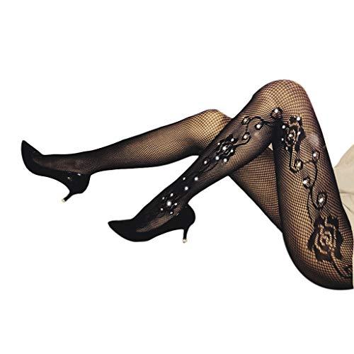 planuuik Vrouwen Sexy Holle Visnet Panty's Kousen Glitter Strass Lingerie Panty