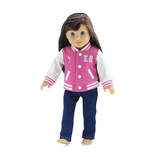 Emily Rose 18 Inch Doll Clothes | Gorgeous Varsity School Jacket Basics Outfit with Blue Stretch Skinny Jeans and Long Sleeved T-Shirt | Fits American Girl Dolls