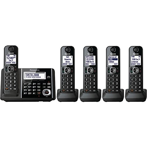 (Panasonic Cordless Phone System with Answering Machine, One-Touch Call Block, Enhanced Noise Reduction, Talking Caller ID and Baby Monitor - 5 Handsets - KX-TGF345B (Black))