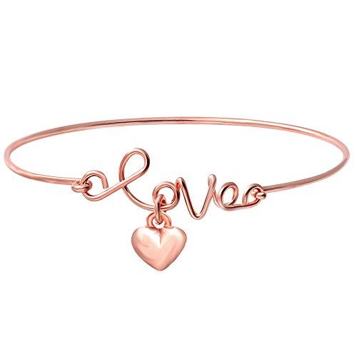 SENFAI Fashion 2 Colors Elegant Jewelry Love Heart Charm Bracelet Bangle Openable Children Bracelet (Rose gold)