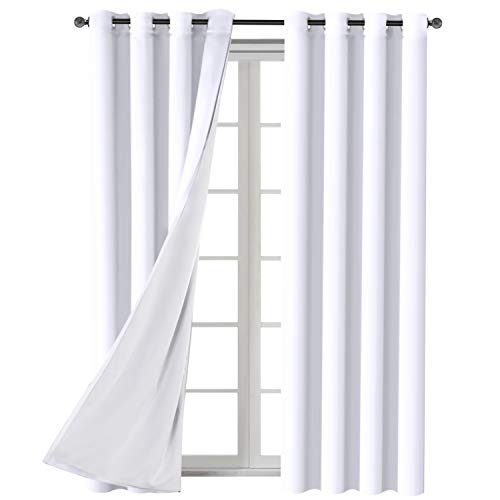 H.VERSAILTEX White Blackout (2 Layers) Curtains Elegant Extra Long Lined Faux Silk with Blackout White Liner Panels Drapes Thermal Insulated Window Treatment Grommet 2 Panels, 108 Inch Length