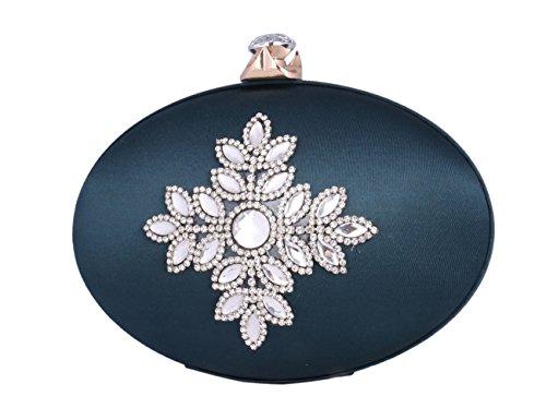 Day Of Saturn Bolso Clutch Elegante Con Adorno Diamante Seda Para Mujer Fiesta,Gris Verde oscuro
