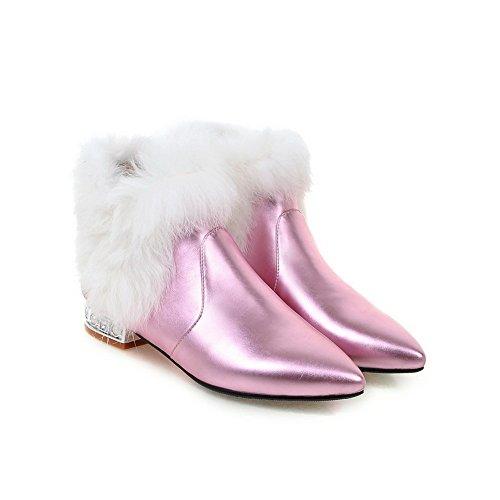 Girls Collar Fur Chunky Leather Pink Boots BalaMasa Imitated Mule Heels dvITPq