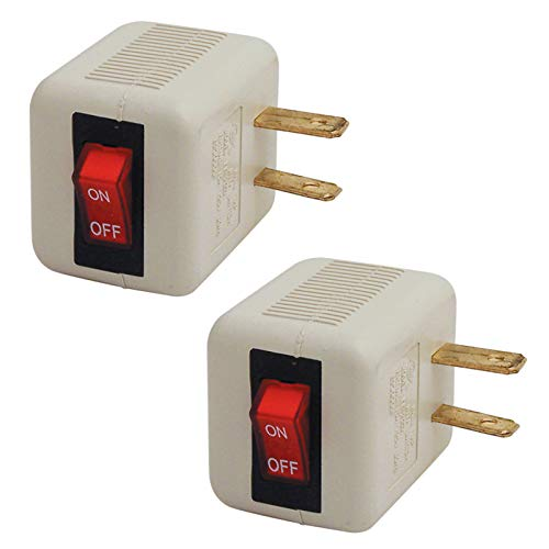 (2-Pack Plug in Cord Switch with Safety Reminder Light ETL Listed)
