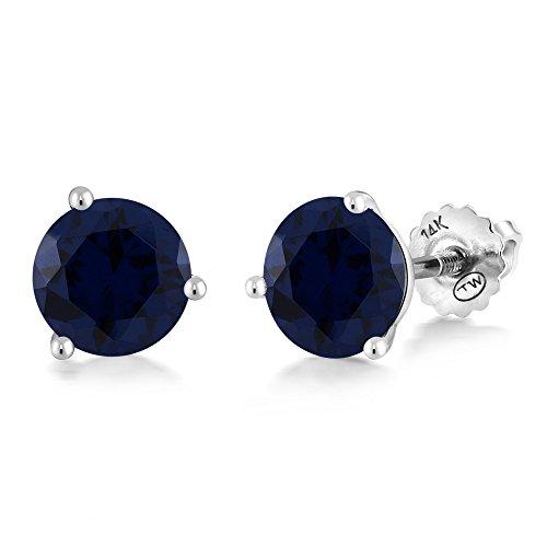Gem Stone King 1.50 Ct Round 6mm Blue Simulated Sapphire 14K White Gold Martini Setting Stud - 14k Earrings Glass