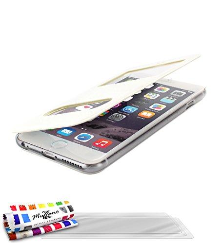 Flip-Case APPLE IPHONE 6 PLUS 5.5 POUCES [Le Clap Touch Premium] [Weiss] von MUZZANO + 3 Display-Schutzfolien UltraClear + STIFT und MICROFASERTUCH MUZZANO® GRATIS - Das ULTIMATIVE, ELEGANTE UND LANGL