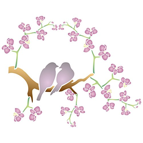 """Stencil Love Bird - Cherry Blossom Love Birds Stencil - (size 17.5""""w x 14""""h) Reusable Wall Stencils for Painting - Best Quality Decor Ideas - Use on Walls, Floors, Fabrics, Glass, Wood, and More…"""