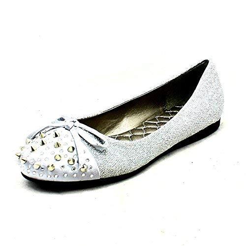 Plateado Plano Brillante Zapatillas SendIt4Me Zapato Clavos Mujer Punta w1x68Zq