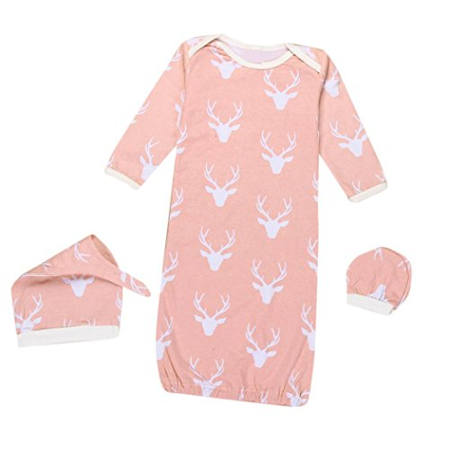 SunWard Christmas 1Set Newborn Baby XMAS Reindeer Gown Hat No Scratch Mittens 3Pcs Outfits Clothes (S, Pink)