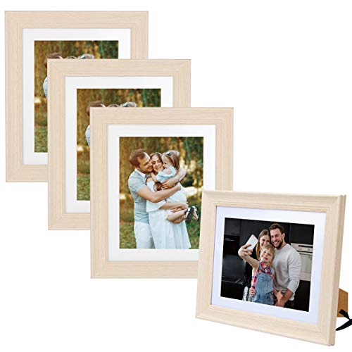 8X10 Picture Photo Frame (1 Pack/4 Pack) with Matted for 5X7 Light Wooden Color , Vertical or Horizontal, Table Top and Wall Mounting Display ()