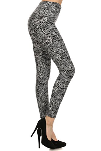 Leggings Depot Women's Ultra Soft Fashion Leggings Series (Saree Paisley, One Size (Size 0-12))