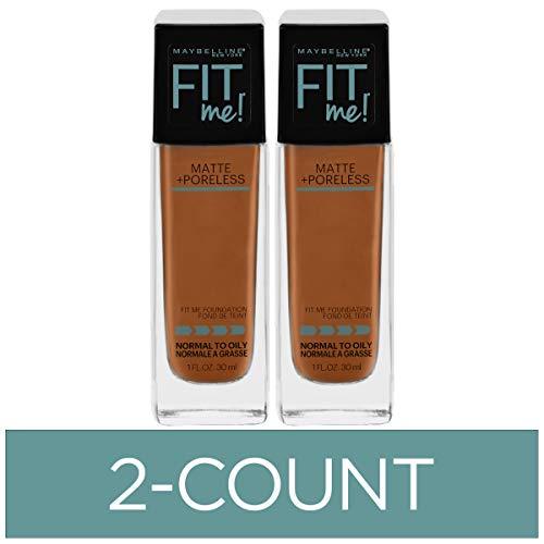 Maybelline Fit Me Matte + Poreless Liquid Foundation Makeup, Warm Coconut, 2 COUNT