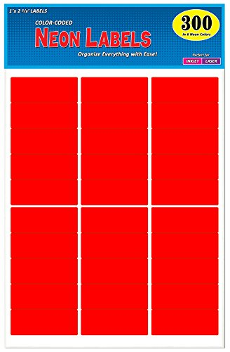 Pack of 300, 1 x 2-5/8 inch, Bright Red, Mailing Address Labels for Laser and Inkjet Printers, Rectangle, Assorted Neon Fluorescent Colors, 1 x 2.625 in.