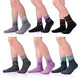 LANLEO 6 Pairs Children's Winter Thick Warm Soft Cute Animal Crew Wool Socks For Kids Boys Girls M