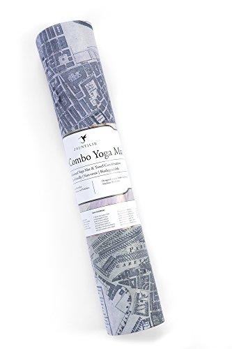 Eco Friendly Pro Yoga Mat Towel Fusion with Strap. Beautiful designs. Natural rubber, soft microfiber, machine washable. Ideal for Hot Yoga Ashtanga Bikram Pilates Exercise (London Vintage Map)