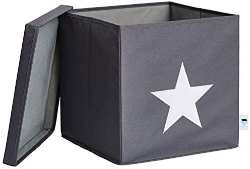 Store – Caja con Tapa, Gris con Estrella Blanca, MDF, IT 672203 ...