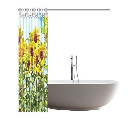 CTIGERS Beautiful Sunflowers Shower Curtain Polyester Fabric Bathroom Decor 66 x 72 Inch