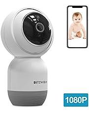Cámara IP WiFi, BlitzWolf 1080P HD Cámara de Vigilancia WiFi Inalámbrica con Audio de Dos Vías, Detección de Movimiento, Visión Nocturna, Seguridad para Bebé/Anciano/Mascota(No Incluye Tarjeta SD)