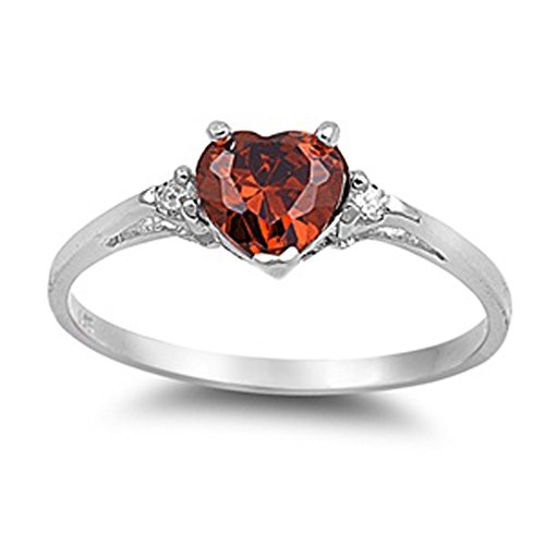 Sac Silver  Sterling Silver Simulated Garnet  Heart Promise Ring, 9