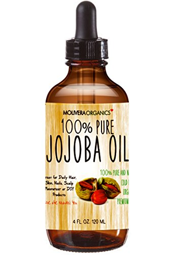 Jojoba Oil - Molivera Organics Premium Jojoba Oil 4 Fl Oz. 100% Pure Organic Cold Pressed Unrefined Best for Hair, Skin, Face & Nails – Great for DIY – UV Resistant Bottle–Satisfaction Guarantee