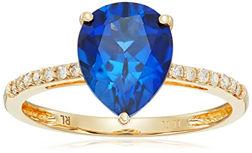 10k-Pear-Shaped-Created-Sapphire-with-Diamond-Accent-Ring-110cttw-I-J-Color-I2-I3-Clarity-Size-7