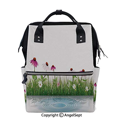 Multi-Function Travel Backpack,Coneflower by The Lake Water Sea Fall Hand Drawn Horizontal Print Multi,15.7 inches,Fashion Mummy Waterproof for Baby Care